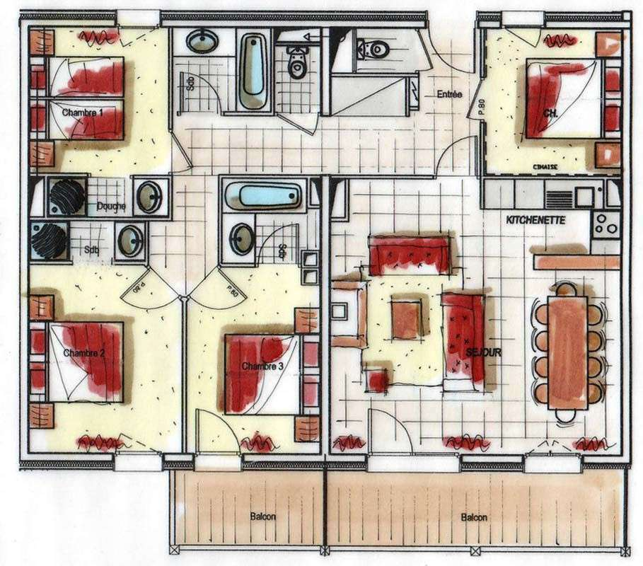 Plan Appartement 8 personnes Val Thorens