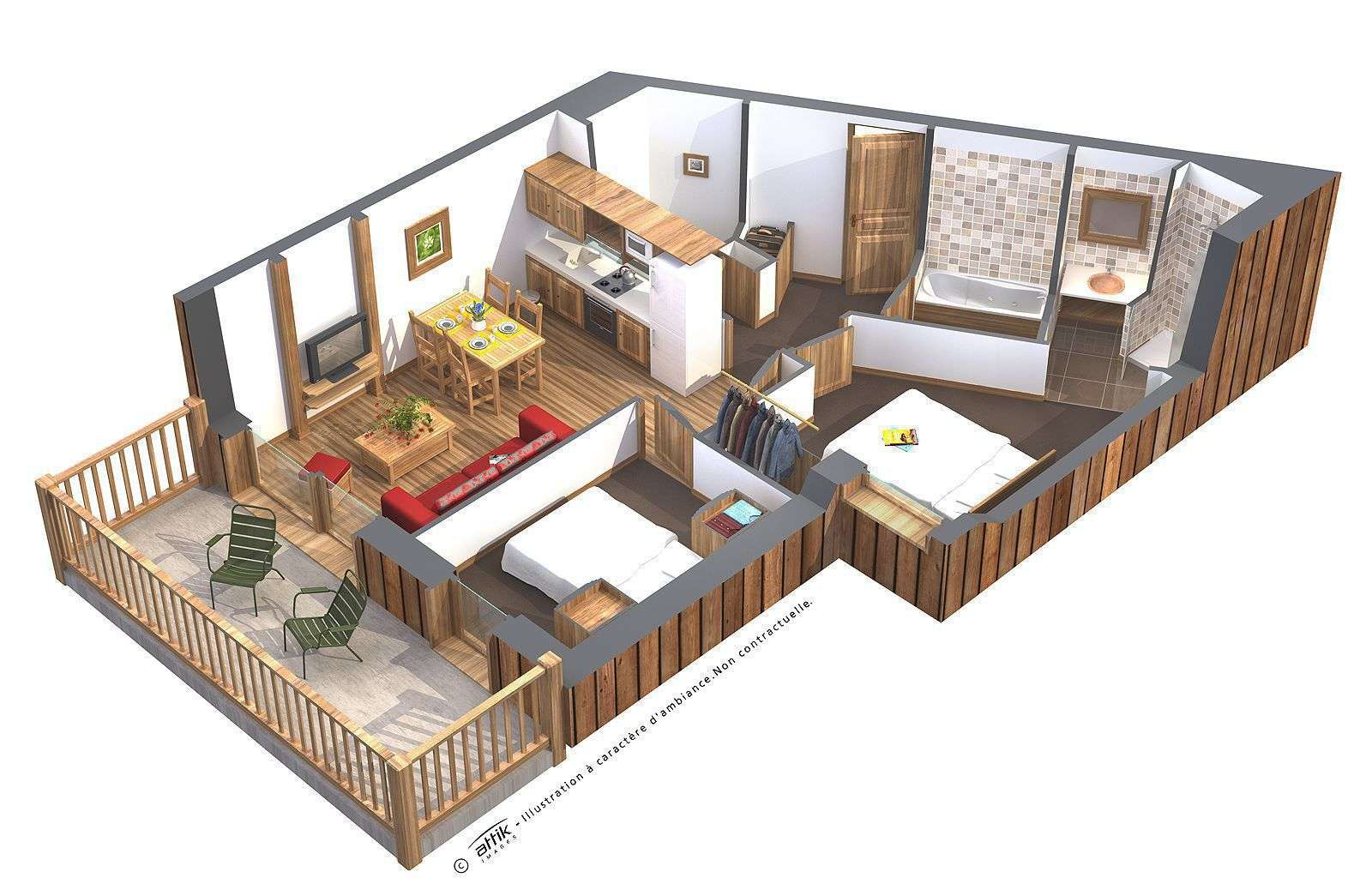 Plan - 4 personnes Deluxe Koh-I Nor Val Thorens Chalet des Neiges